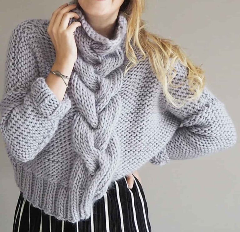 cropped cabled jumper