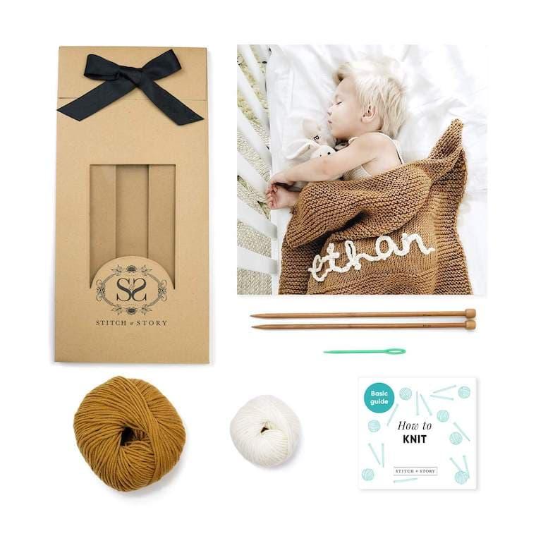 Personalised Baby Blanket Knitting Kit