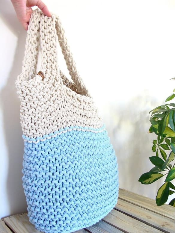 Two Color Slouchy Tote Bag